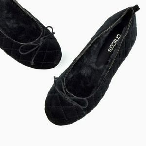 💜CHICO'S QUILTED BLACK BALLET FLATS